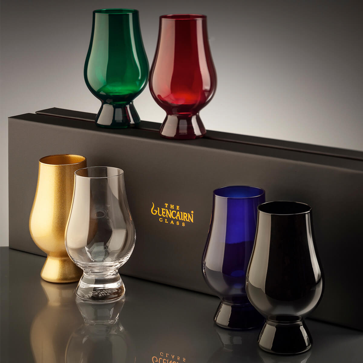 Set of Coloured Glencairn Glasses in Green, Red, Gold, Blue, Black, Clear with box